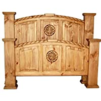 Rustic Western Queen Size Real Wood Mansion Bed with Rope Star Detail