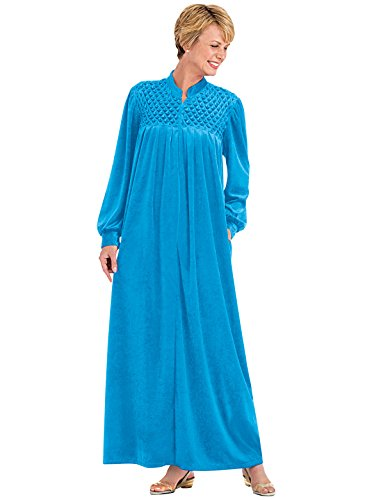 Zip-Front Velour Robe at Amazon Women\'s Clothing store: Long Robes