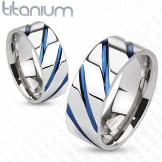 TIR-0004 Solid Titanium Blue IP Striped Band Ring; Comes With Free Gift Box