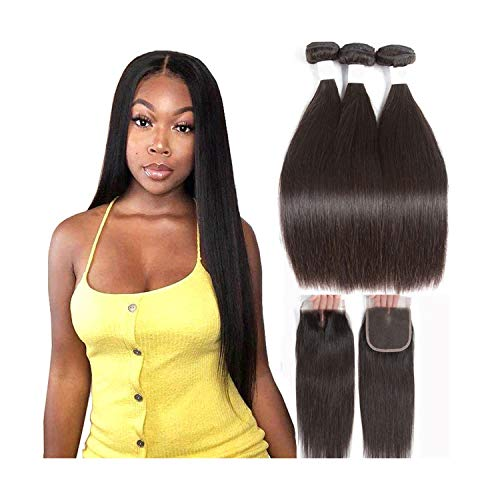 Straight Human Hair 3 Bundles With Closure 100% Remy Hair Weft Weave Extensions Brazilian Hair Bundles With Closure,16 & 18 & 20 & Closure 14,Three Part