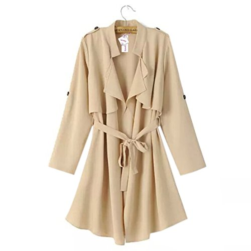 iPretty Trenca Mujer Chaqueta de Solapa Otoño Trench Coat Women Talla EUR 36 38 40 Albaricoque