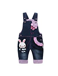Kidscool Baby Girls Cotton 3D Cute Rabbit Butterfly Denim Overalls