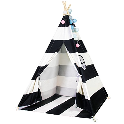 Touch-Rich 6FT Durable Teepee for Kids, Indian Play Tent, Sturdy & Safe Kids' Furniture with Window & Floor, Including Style Matching Accessories (Stripe Black Teepee)