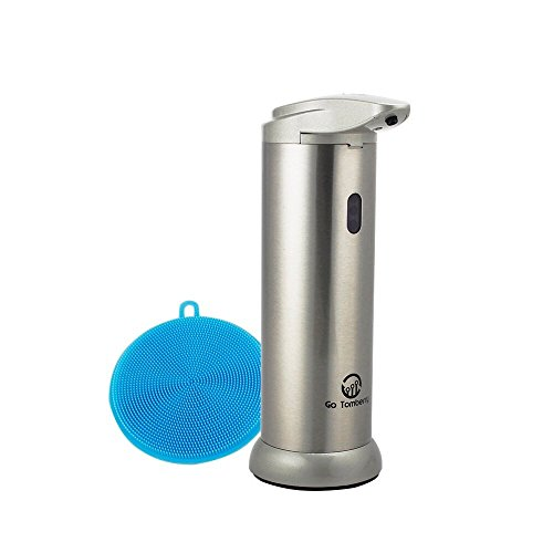 Go Tomberry Automatic Liquid Soap Dispenser with Dish Scrubber. IR Infrared Sensor Detects Motion for Hands Free, Touchless Dispensing in Kitchen or Bathroom. Fingerprint Resistant Stainless Steel