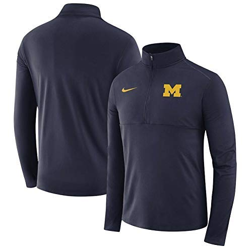 Nike Dri Fit Michigan Wolverines Navy Quarter Zip Pullover Jacket (Navy Blue, X-Large)