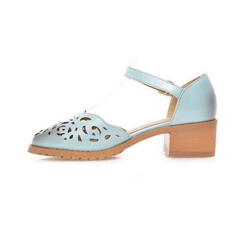 Shoes LightBlue Closed Pumps Round Buckle AllhqFashion Heels Low Solid Toe Womens xCRwnvz