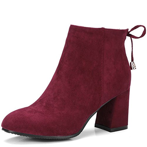 fereshte Ladies Women's Fashion Suede Pointed-Toe Mid Heels Casual Back Lace Ankle Boots Wine