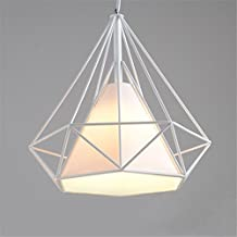 Vintage Ceiling Light 25cm Modern Diamond Shape Pendant Light Geometric Cage Ceiling Chandelier (white+white shade)