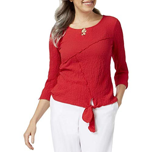 - Alfred Dunner Womens Barcelona Knot-Front 3/4 Sleeves Blouse Red XL