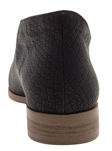 Qupid Womens Tuxedo-68 Ballet Flat Black Snake