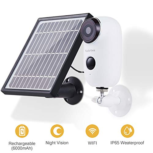 CTVISON Indoor/Outdoor Wireless Rechargeable Solar Powered Security Camera System,1080p HD 2-Way Audio Night Vision with PIR Motion Sensor SD Card Slot and Cloud Service