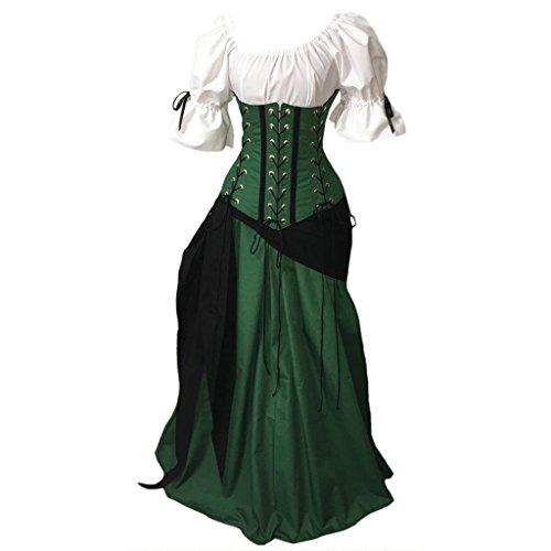 DUNHAO COS Women's Medieval Renaissance Colonial Viking Costume Dress Green XL