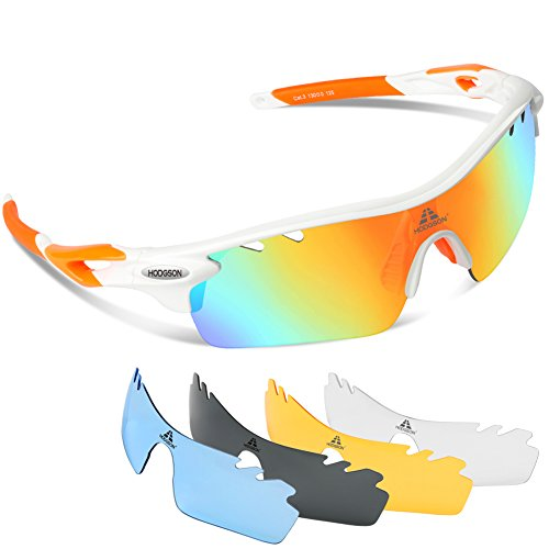 HODGSON Polarized Sports Sunglasses with 5 Interchangeable Lenses for Men Women Cycling Baseball Running Glasses, TR90 Unbreakable -Orange