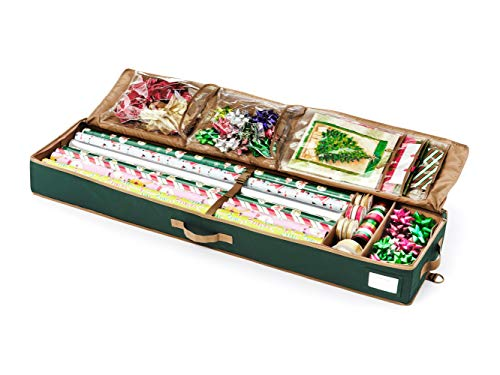 Covermates - Deluxe Gift Wrap Organizer - Holds up to 15 Rolls + Accessories - 3 Year Warranty - Green
