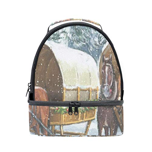Lunch Bag Christmas Winter Horse Double Layer Backpack Lunch Tote Insulated Reusable Adjustable Shoulder Strap