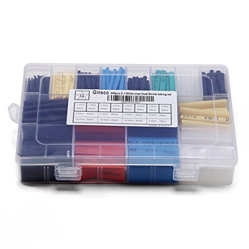 Ginsco 580 pcs. 2: 1 Tubo termoencogible 6 colores 11 tamaños Conjunto de tubos Combo Surtido Cable de envoltura para cables Kit para diy