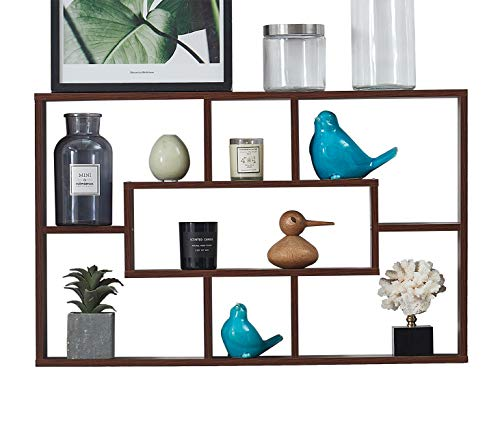 O&K Furniture Modern Style Floating Cube Shelf, Rectangular Wall Shelf with 7 Openings, Geometric Display & Storage Wall Shelf for Home Office, Espresso-Teak Finish