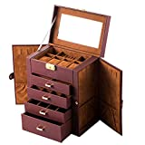 KissDate Synthetic Leather Huge Jewelry Box Mirrored Watch Organizer Necklace Ring Earring Storage Lockable Gift Case Brown