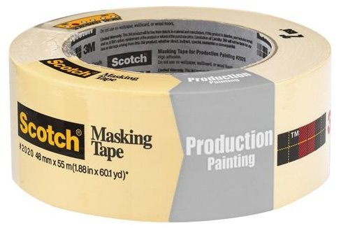 Scotch T937202012PK Natural #2020 Masking Tape, 2'' x 60 yd. (Pack of 12)