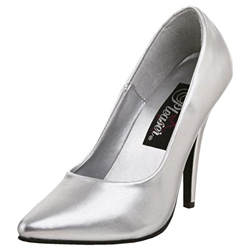 5 Inch Classic Pump Shoes - 5 Inch Sexy High Heel Shoe Women's Dress Shoes Classic Pump Shoes Silver Size: 14