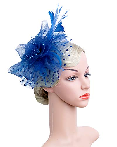 Cizoe Flower Cocktail Tea Party Headwear Feather Fascinators Top Hat for Girls and Women(1-Royal blue) ()