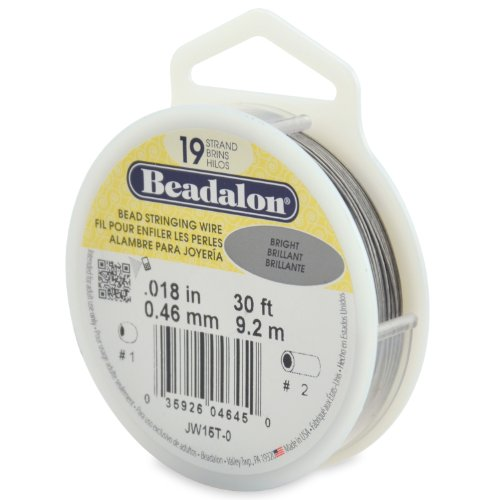 (Beadalon 19-Strand Bead Stringing Wire, 0.018-Inch, Bright, 30-Feet)
