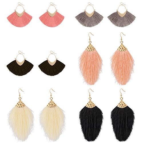 Dreamfox Colorful Thread Tassel Dangle Drop Earrings Jewelry for Women Girls Stud Bohemian Fashion Fringe Party and…