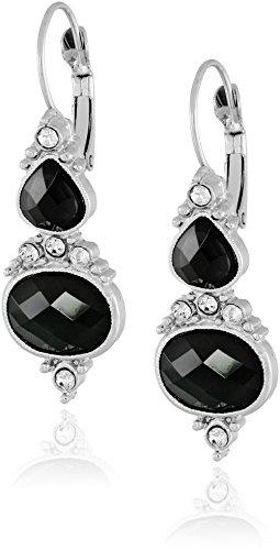 black and crystal drop earrings - 7