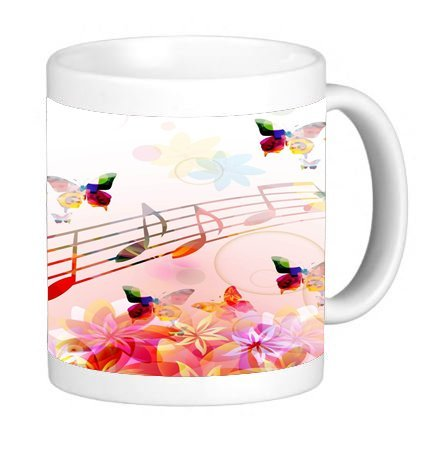 Trendy Accessories Musical Notes Butterflies Design Pattern Print 11 ounce Ceramic Coffee Mug Tea Cup