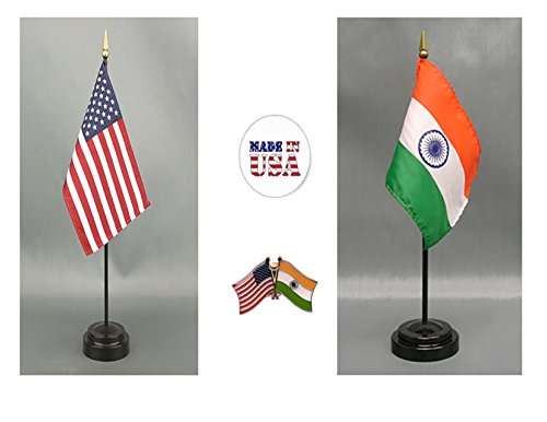 Indians Tall Team Flag - Made in The USA. 1 American and 1 Indian Rayon 4