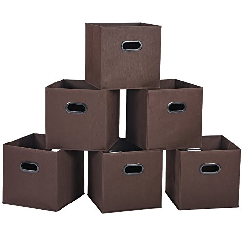 e Bins Cubes Baskets Containers with Dual Plastic Handles for Home Closet Bedroom Drawers Organizers, Flodable, Coffee, Set of 6 (Brown Dual Handle)