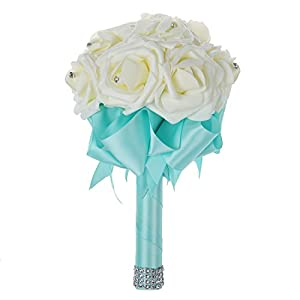 SODIAL(R) Beautiful Wedding Bouquet Bridal Bridesmaid Flower wedding bouquet artificial flower rose bouquet white bridal bouquets-Turquoise Ribbon 64