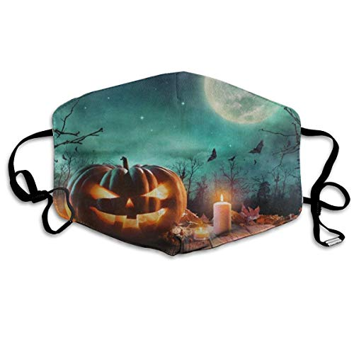 Mouth Mask Halloween Pumpkin Wooden Full Moon Anti Dust Mask Winter Warmth Healthy Reusable for Unisex Easter -