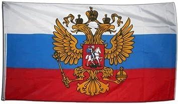 Digni - Bandera gigante de Rusia con escudo (150 x 250 cm, poliéster): Amazon.es: Deportes y aire libre