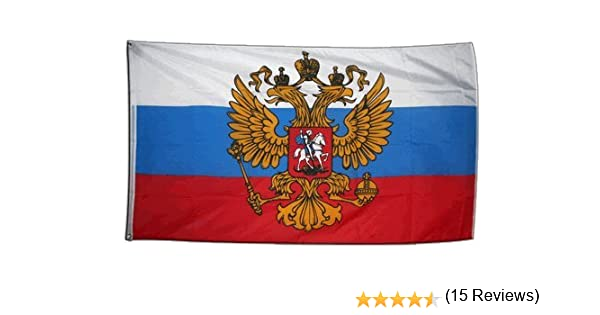 Digni - Bandera gigante de Rusia con escudo (150 x 250 cm ...