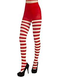 Women's Adult Christmas Striped Tights, Red/White, One Size