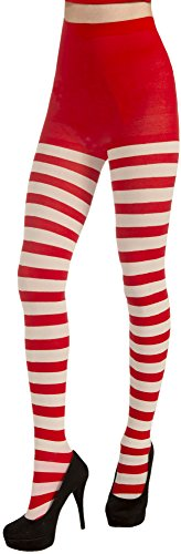 Forum Novelties Women's Adult Christmas Striped Tights, Red/White, One Size -