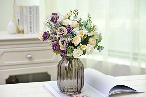AlphaAcc 6 Branch 60 Heads Artificial Mini Rose Flower Bouquet Assorted Colors Arrangements Home Garden Office Wedding Table Floral Decor Simulation Greenery Plants