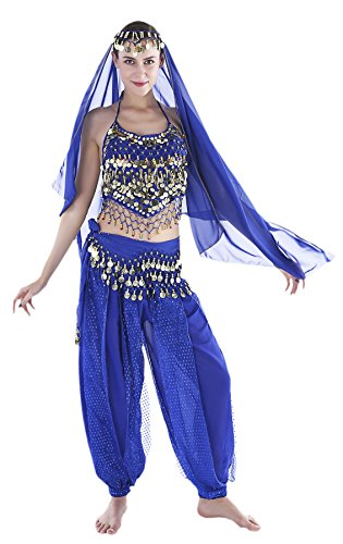 Seawhisper Bollywood Costume Women Genie Outfits for Halloween with Chiffon Harem Pants Blue -