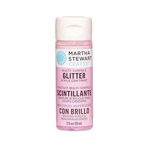 Martha Stewart Crafts Multi-Surface Glitter Acrylic Craft Paint in Assorted Colors (2-Ounce), 32151 Bubble (Bubble Gum Pink Satin)