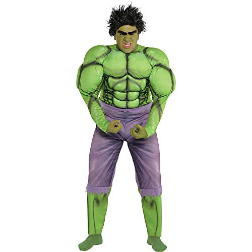Costumes USA Hulk Muscle Costume for Adults, Plus Size, Includes a Jumpsuit, a Wig, and Stick-On Eyebrows