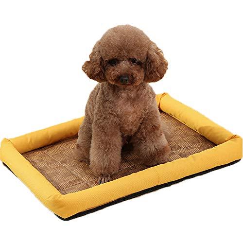 - Summer Pet Cool Mattress Kennel Non-Slip Pet Nest Breathable Rattan Mat Four Seasons Universal Moisture-Proof PP Cotton Mat,Yellow,M