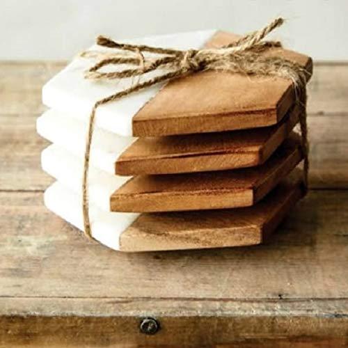 NEFFICAR Wood Marble Coasters – Coffee, Tea, Beer, Drink Coaster – Set of 4 – Luxurious – Elegant and Minimal for Aesthetic Lovers (White Marble – Hexagonal) Price & Reviews