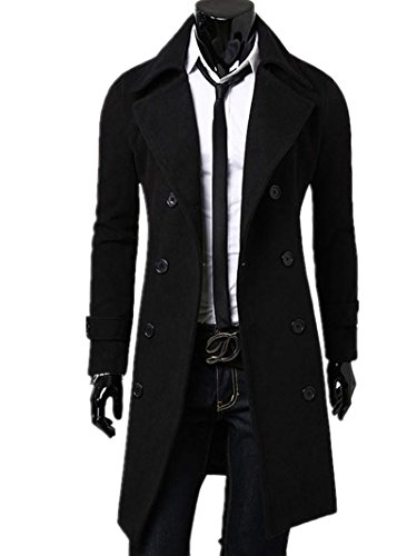 Kalanman Men's Winter Slim Double Breasted Overcoat Long Trench Coat Jacket (US S(Label L), Black)