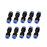#9: Saim 4mm to 4mm Push in Fitting Straight Quick Connect Jointer Pneumatic Union Connector 10pcs