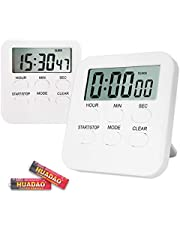 Digital Kitchen Timer,Three Modes Optionally Change 12 Hour Clock/Loud Alarm/Memory Function Count Up & Count Down,Magnetic Backing,Stand for kids Study,Cooking,Baking,Sports,Games(Battery Inclued)