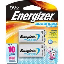 Energizer LA522SBP-2 Advanced 9V Lithium Batteries, 2 CT (Pack of (Energizer Advanced Photo Lithium Battery)