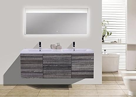 Moreno Mob 60 Inch Double Sink High Gloss Ash Grey Modern Bathroom Vanity  With Acrylic Sink