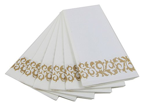 Guest Linen Decorative Hand Napkins (200 Pack, Floral) - Gold and White Fancy Bulk Cloth Like Paper Disposable Bathroom, Dinner, Wedding & Cocktail Party Towels