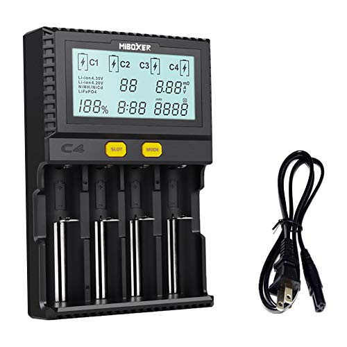 Miboxer 18650 Smart Battery Charger Universal Intelligent 4 Slot Automatic LCD Display for Li-ion LiFePO4 Ni-MH Ni-Cd AA AAA C 26650 18350 18700 21700 20700 RCR123 Fire Prevention Material (18650 Lithium Battery)